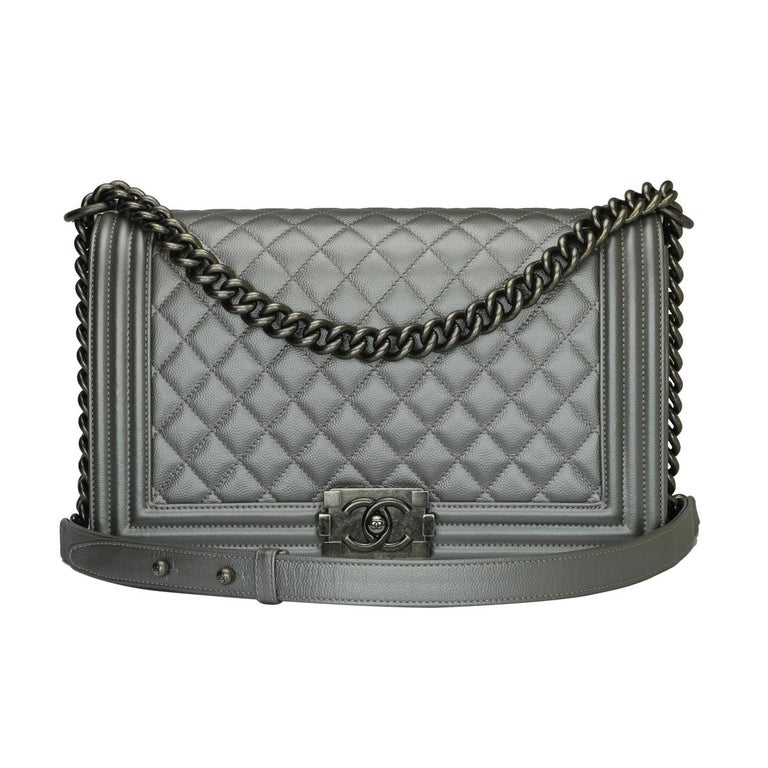 CHANEL New Medium Quilted Boy Silver Grey Caviar with Ruthenium Hardware 2018 For Sale