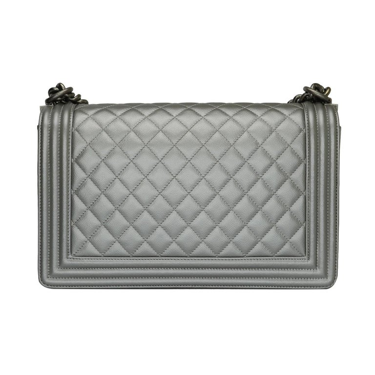 Women's or Men's CHANEL New Medium Quilted Boy Silver Grey Caviar with Ruthenium Hardware 2018 For Sale