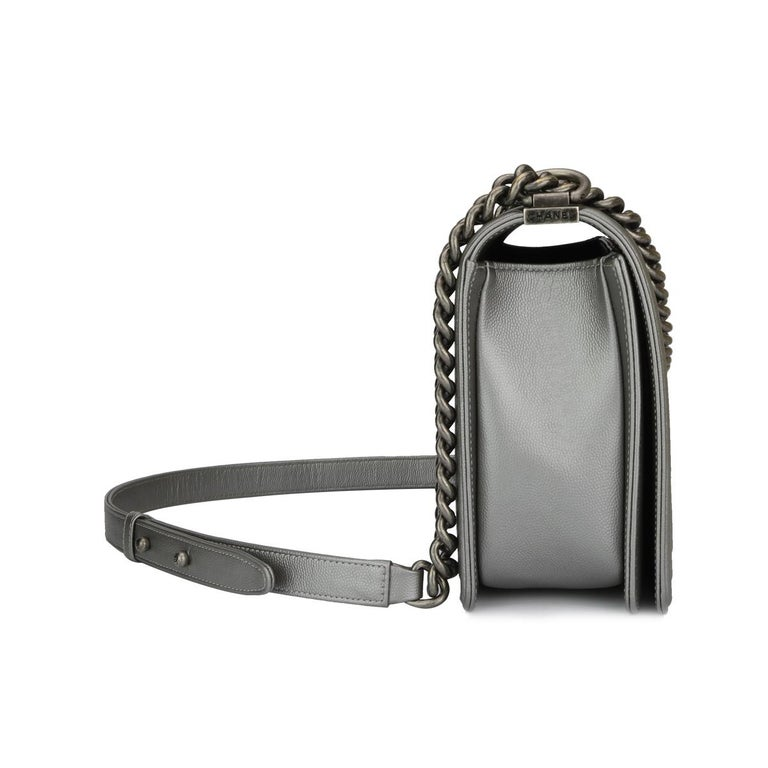 CHANEL New Medium Quilted Boy Silver Grey Caviar with Ruthenium Hardware 2018 For Sale 1