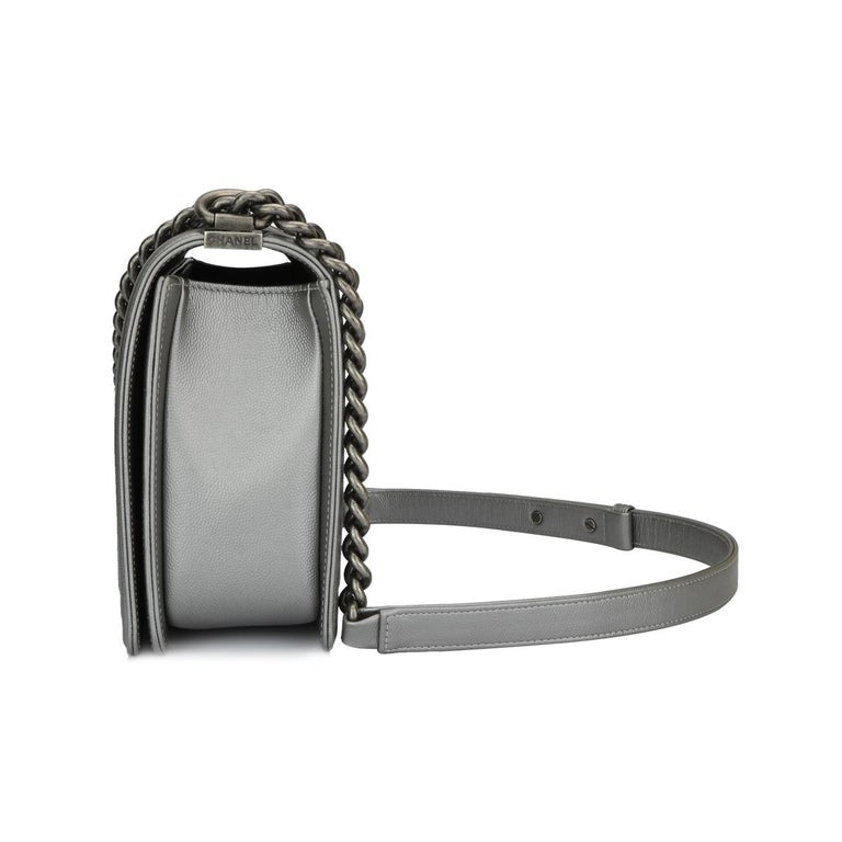 CHANEL New Medium Quilted Boy Silver Grey Caviar with Ruthenium Hardware 2018 For Sale 3