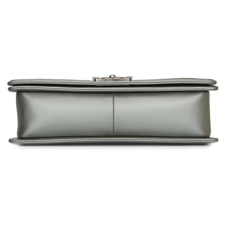 CHANEL New Medium Quilted Boy Silver Grey Caviar with Ruthenium Hardware 2018 For Sale 4