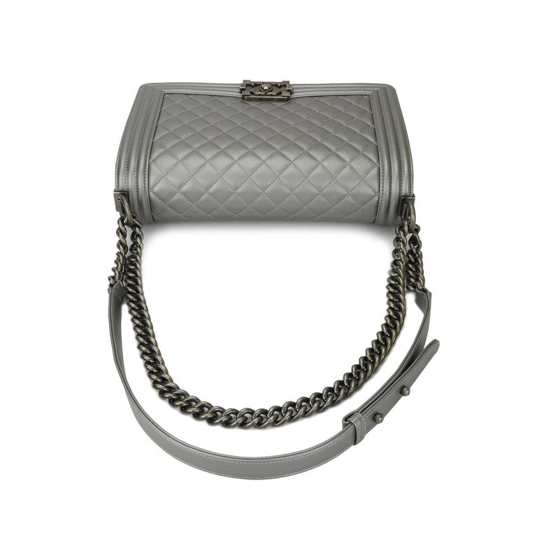 CHANEL New Medium Quilted Boy Silver Grey Caviar with Ruthenium Hardware 2018 For Sale 7