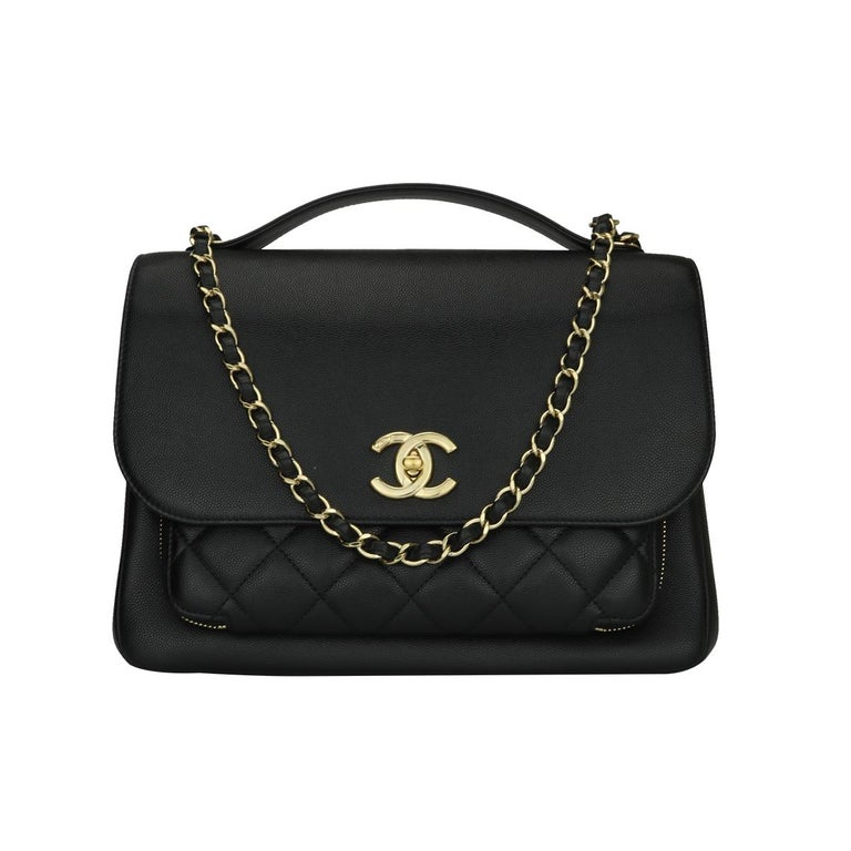 CHANEL Business Affinity Large Black Caviar with Champagne Hardware 2017 For Sale