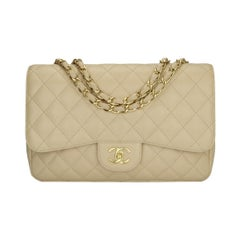 CHANEL Classic Single Flap Jumbo Beige Clair Caviar with Gold Hardware 2009