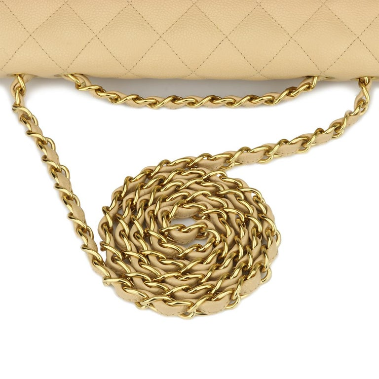 CHANEL Classic Single Flap Jumbo Beige Clair Caviar with Gold Hardware 2009 For Sale 8
