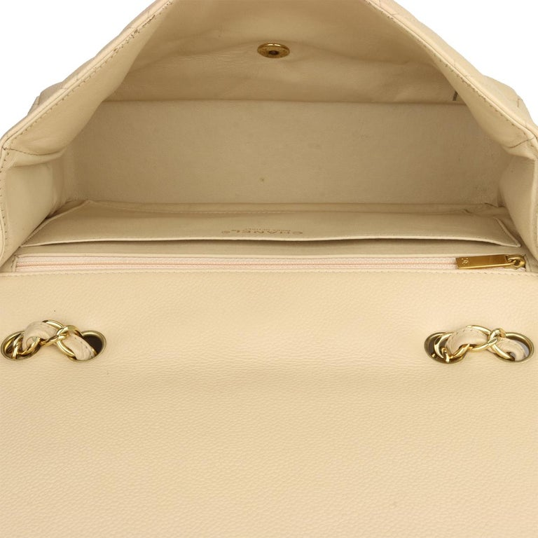 CHANEL Classic Single Flap Jumbo Beige Clair Caviar with Gold Hardware 2009 For Sale 11