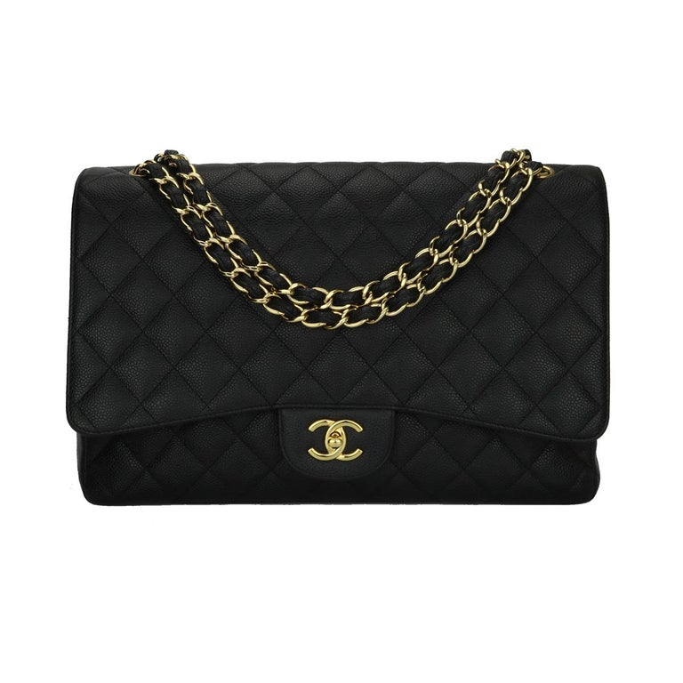 CHANEL Black Caviar Maxi Single Flap with Gold Hardware 2009 For Sale