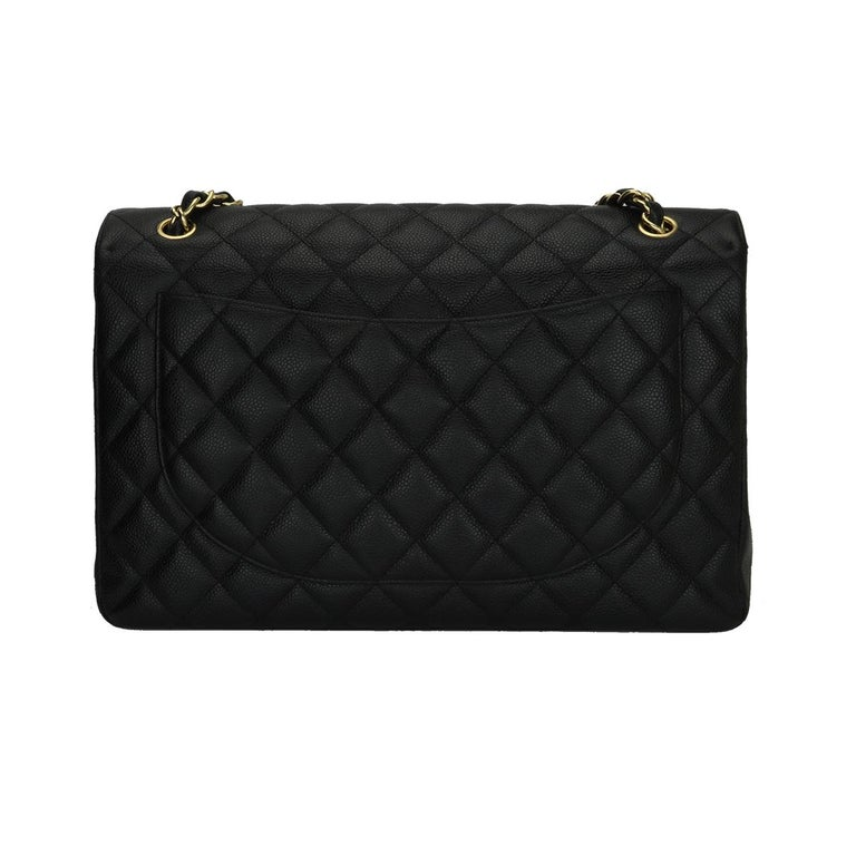 Women's or Men's CHANEL Black Caviar Maxi Single Flap with Gold Hardware 2009 For Sale