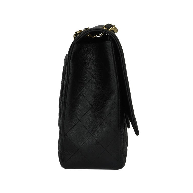CHANEL Black Caviar Maxi Single Flap with Gold Hardware 2009 For Sale 2