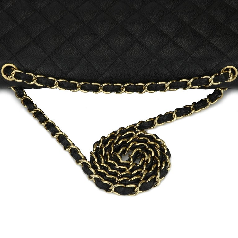 CHANEL Black Caviar Maxi Single Flap with Gold Hardware 2009 For Sale 8