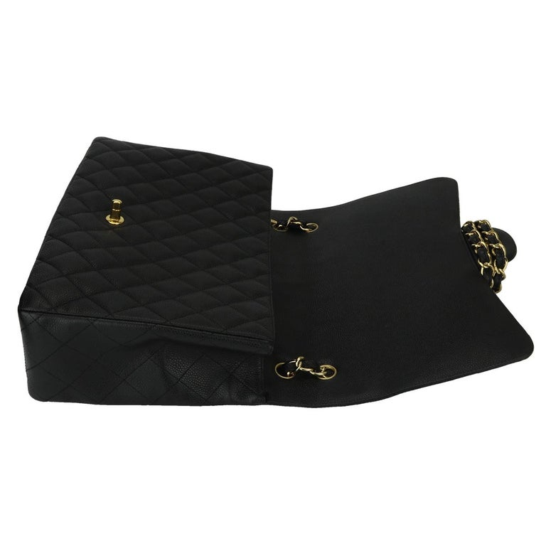 CHANEL Black Caviar Maxi Single Flap with Gold Hardware 2009 For Sale 9
