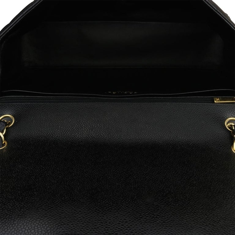 CHANEL Black Caviar Maxi Single Flap with Gold Hardware 2009 For Sale 11