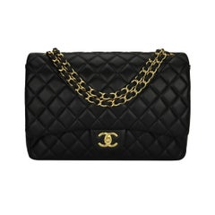 CHANEL Black Lambskin Maxi Double Flap with Gold Hardware 2012