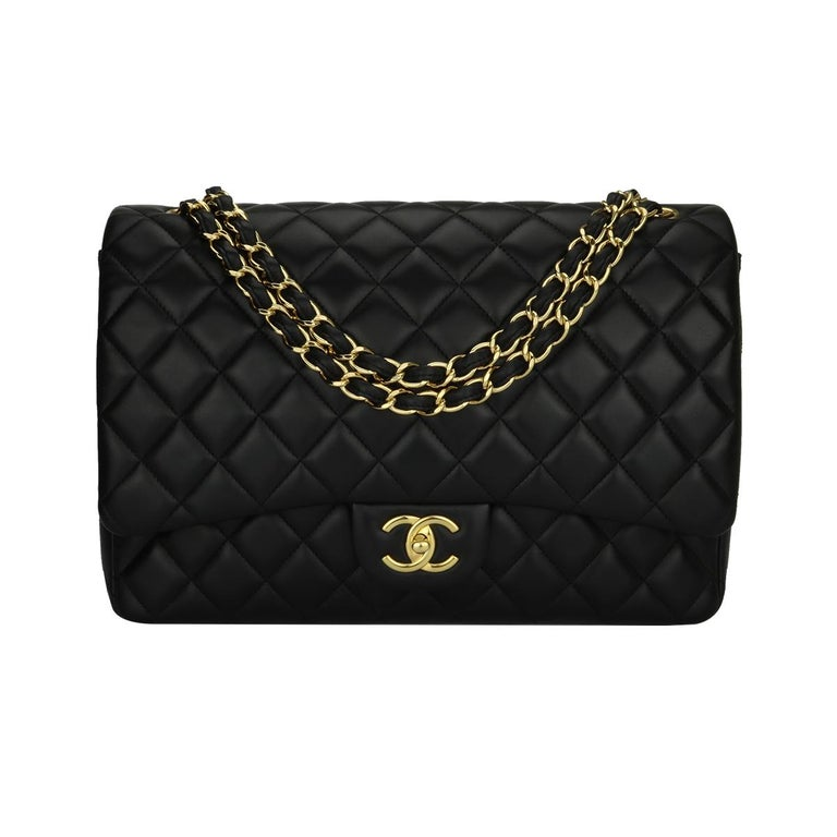 CHANEL Black Lambskin Maxi Double Flap with Gold Hardware 2012 For Sale