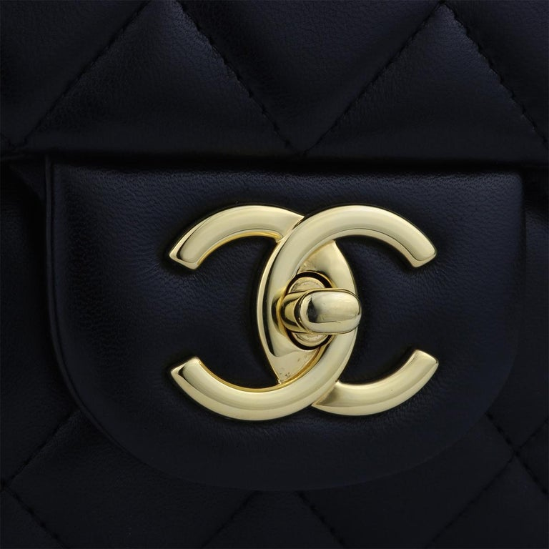 CHANEL Black Lambskin Maxi Double Flap with Gold Hardware 2012 In New Condition For Sale In Huddersfield, GB