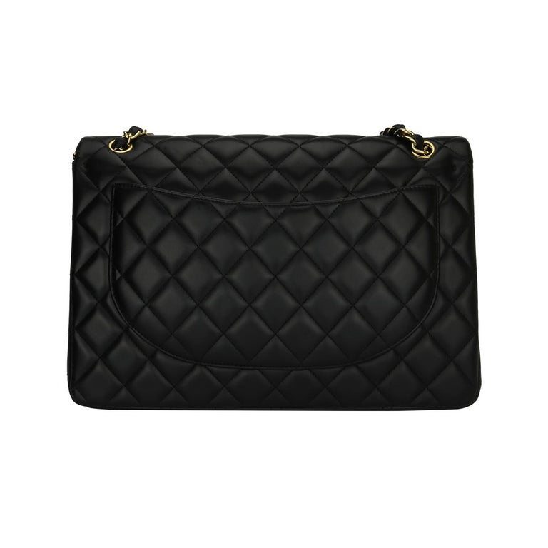 Women's or Men's CHANEL Black Lambskin Maxi Double Flap with Gold Hardware 2012 For Sale