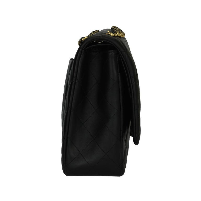 CHANEL Black Lambskin Maxi Double Flap with Gold Hardware 2012 For Sale 1