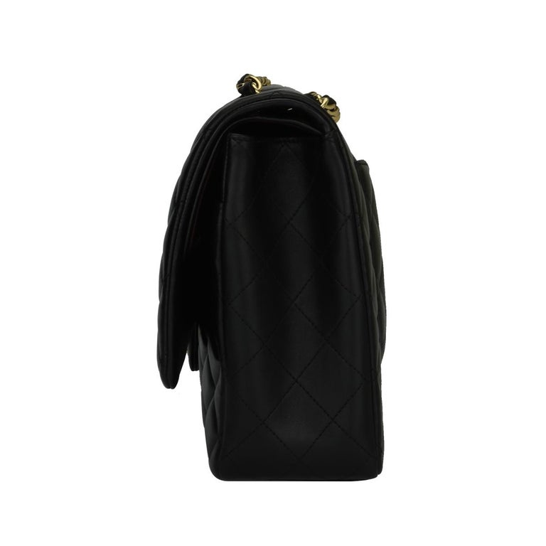 CHANEL Black Lambskin Maxi Double Flap with Gold Hardware 2012 For Sale 2