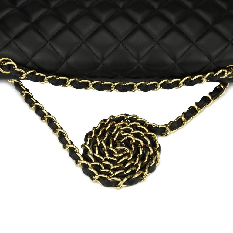 CHANEL Black Lambskin Maxi Double Flap with Gold Hardware 2012 For Sale 8