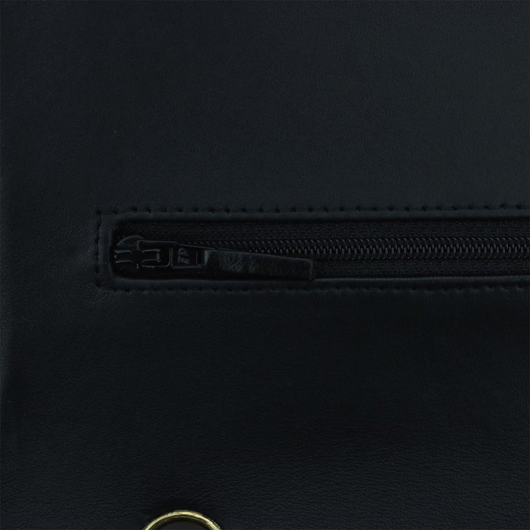 CHANEL Black Lambskin Maxi Double Flap with Gold Hardware 2012 For Sale 11