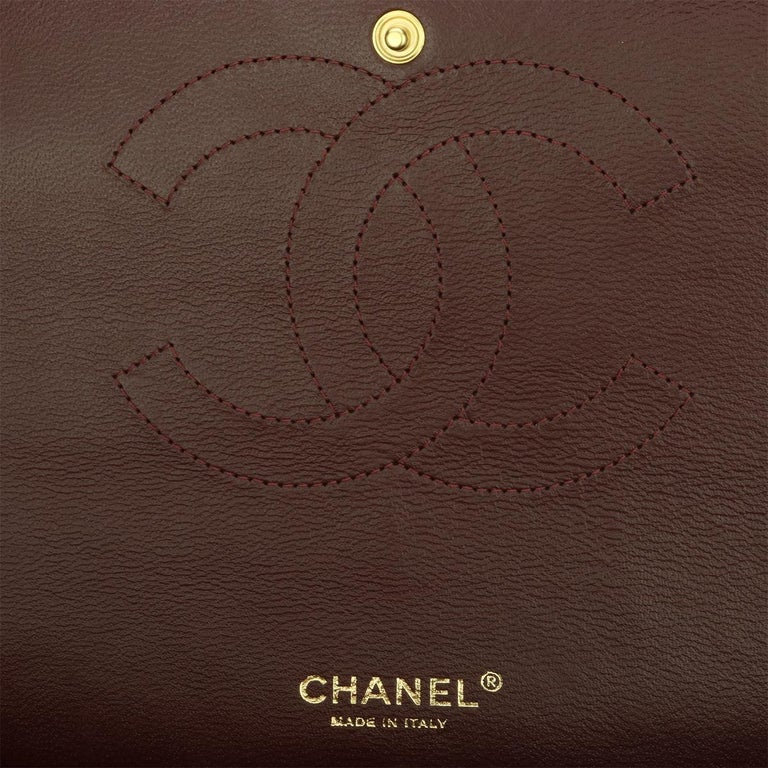 CHANEL Black Lambskin Maxi Double Flap with Gold Hardware 2012 For Sale 13