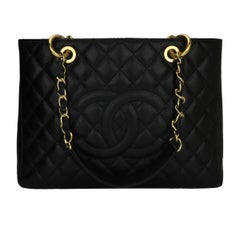 CHANEL Grand Shopping Tote (GST) Black Caviar with Gold Hardware 2015