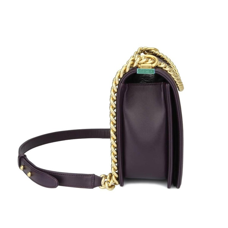 Black Chanel New Medium Boy Dark Purple Lambskin with Brushed Gold Hardware 2016 For Sale