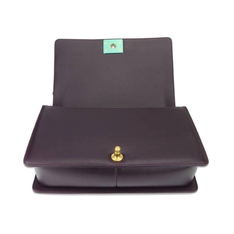 Chanel New Medium Boy Dark Purple Lambskin with Brushed Gold Hardware 2016 For Sale 1