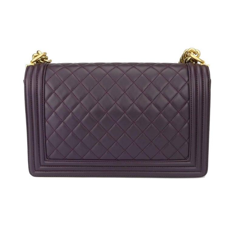 Chanel New Medium Boy Dark Purple Lambskin with Brushed Gold Hardware 2016 2