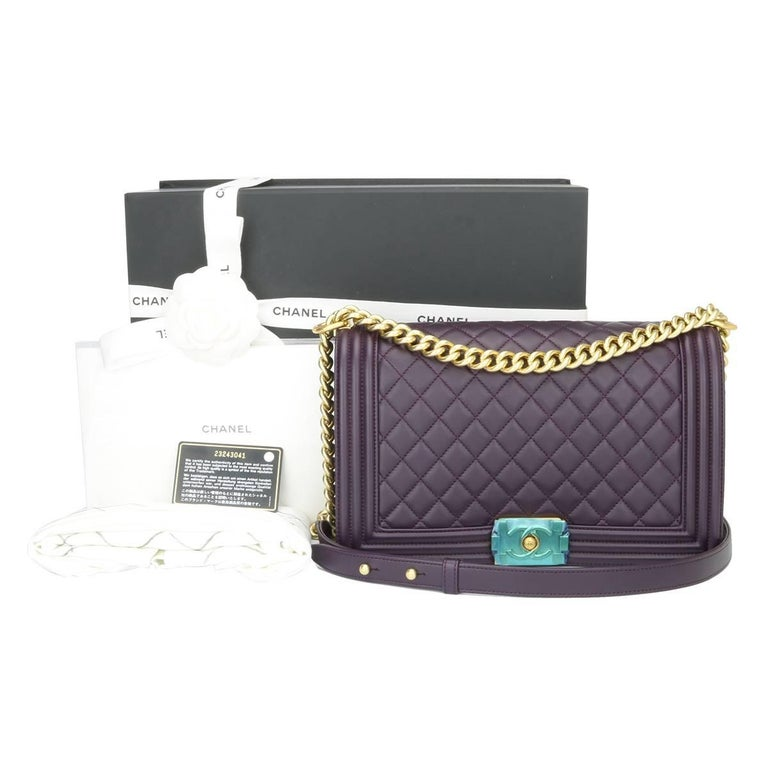 Chanel New Medium Boy Dark Purple Lambskin with Brushed Gold Hardware 2016 For Sale 5