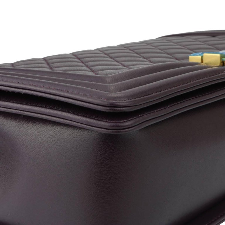 Women's or Men's Chanel New Medium Boy Dark Purple Lambskin with Brushed Gold Hardware 2016 For Sale