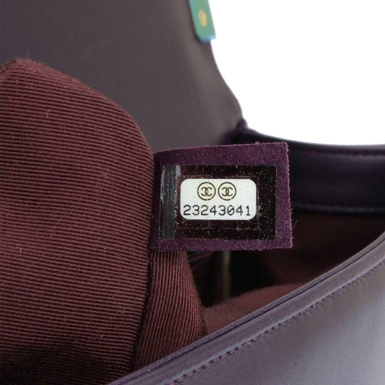 Chanel New Medium Boy Dark Purple Lambskin with Brushed Gold Hardware 2016 9