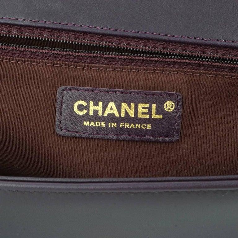 Chanel New Medium Boy Dark Purple Lambskin with Brushed Gold Hardware 2016 8