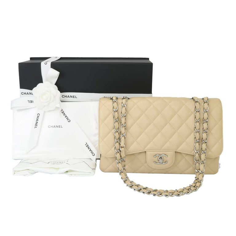 02c20c6220ce14 CHANEL Single Flap Jumbo Beige Clair Caviar with Silver Hardware 2009 For  Sale 6