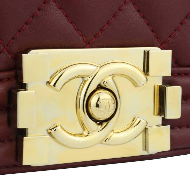 e7991ffd6f83 Authentic CHANEL Old Medium Quilted Boy Burgundy Lambskin with Shiny Gold  Hardware 2015. This stunning