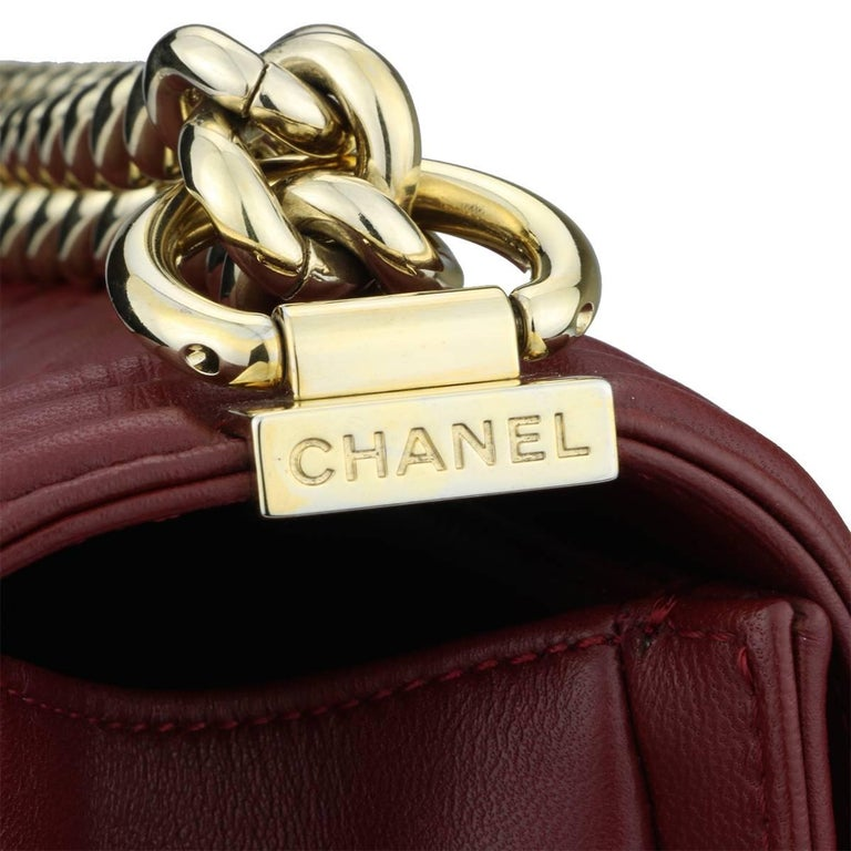3316c39a4f3 Women s or Men s CHANEL Old Medium Quilted Boy Burgundy Lambskin with Shiny  Gold Hardware 2015 For