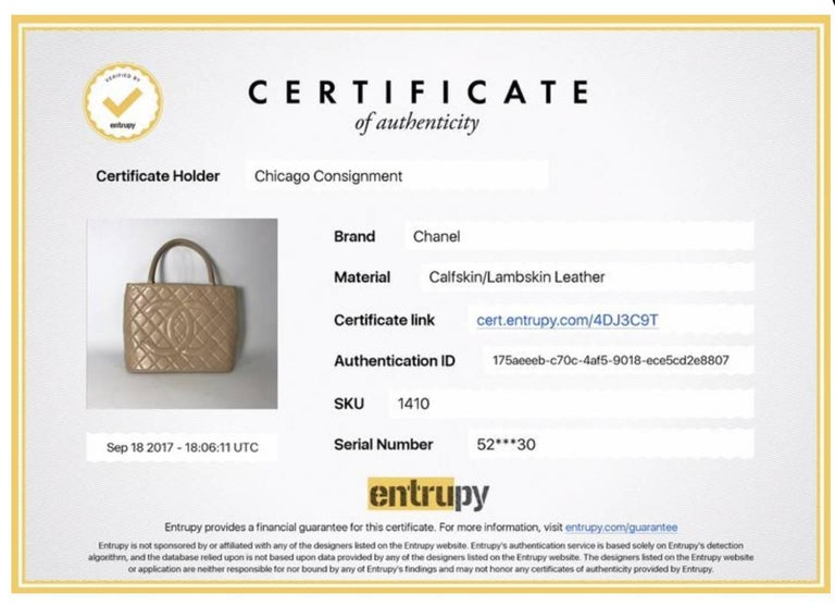 MODEL - Chanel Lambskin Leather Medallion with Gold Hardware in Cream  CONDITION - Very Good Condition  SKU - 1410  ORIGINAL RETAIL PRICE - $4000 + tax  DATE/SERIAL CODE - 5257630  DIMENSIONS - 11.8 x 9.5 x 6  STRAP DROP - 6.3  MATERIALS - Lambskin