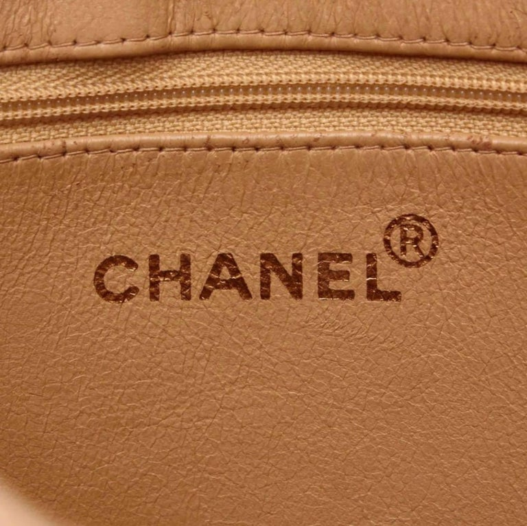 Chanel Lambskin Leather Medallion with Gold Hardware in Cream For Sale 5