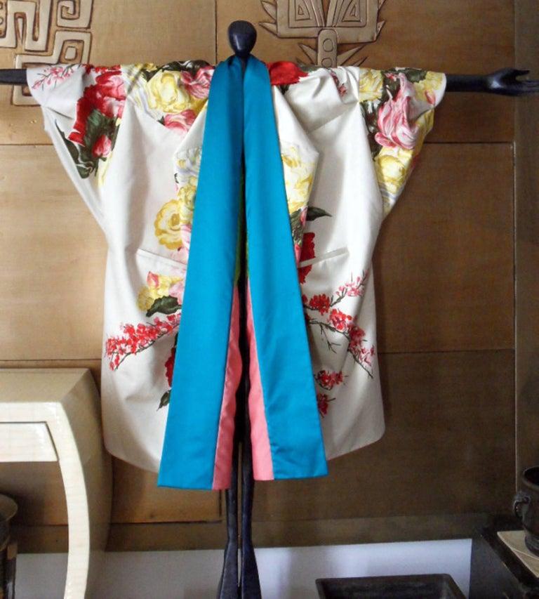 Beige Haute couture ,Kenzo by antonio marras ,dress coat cape , kimono-inspired For Sale