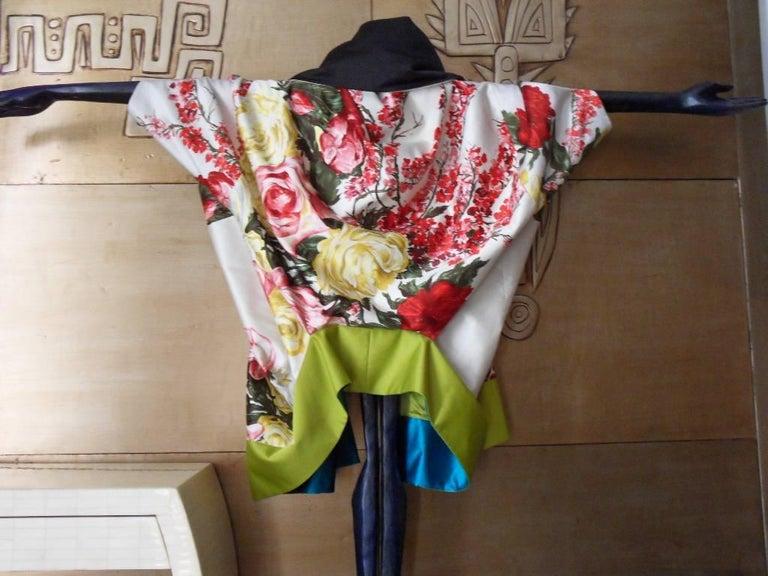 Haute couture ,Kenzo by antonio marras ,dress coat cape , kimono-inspired In Good Condition For Sale In Paris, FR