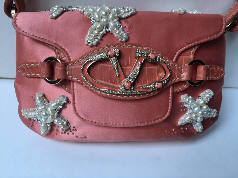 Valentino  Haute Couture Silk and leather Evening Handbag  In Good Condition For Sale In Paris, FR