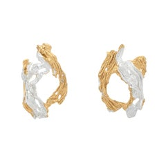 Loveness Lee - Itsaso - Gold and Silver hoop Textured Earrings
