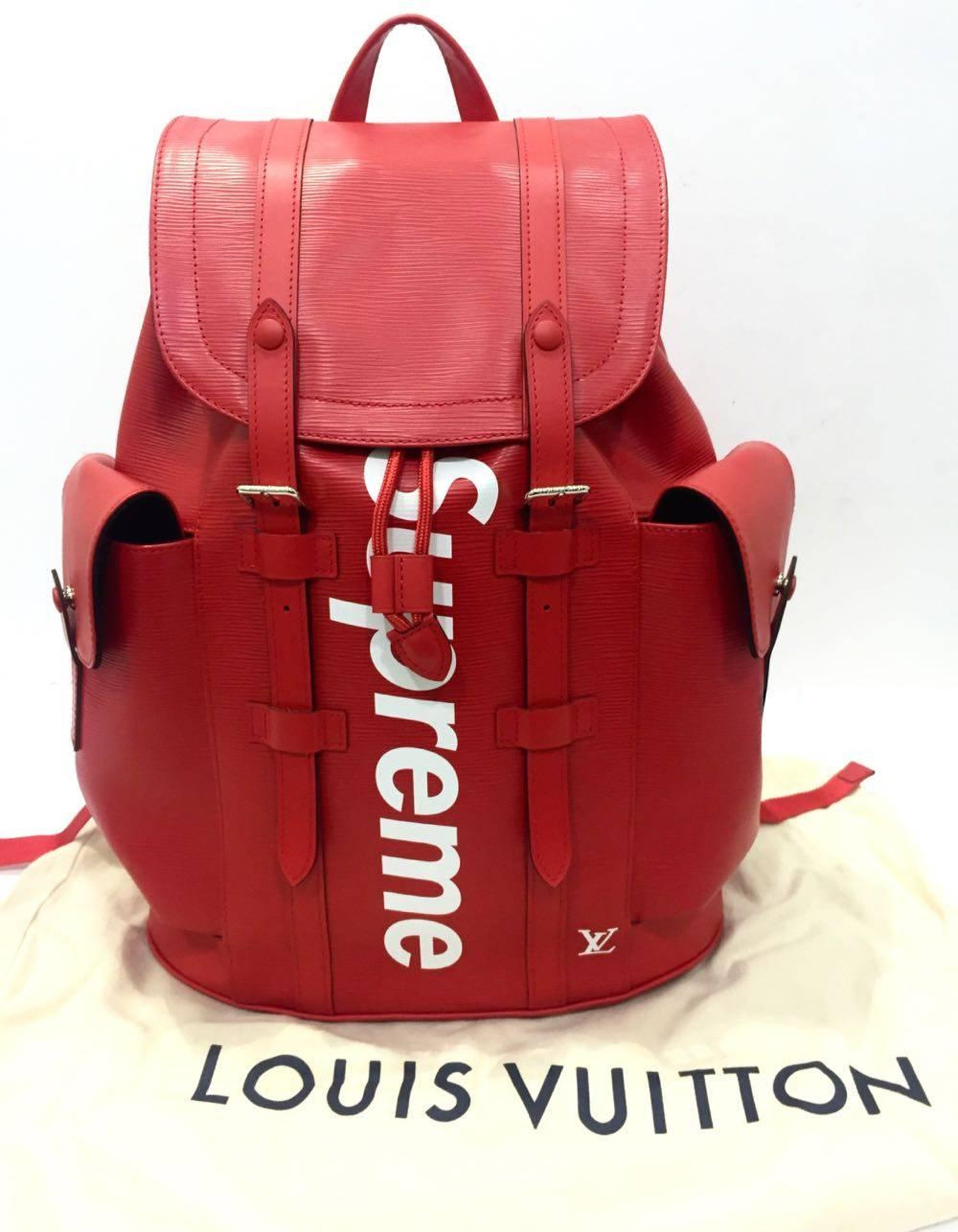e2f2f4693 Lv Supreme Red Leather Backpack | Building Materials Bargain Center