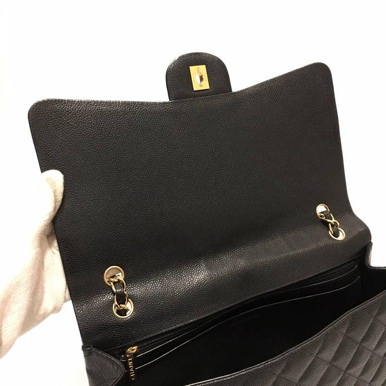 1a76d856db555c Chanel Paris Classic Maxi Jumbo Bag Black Caviar Leather Hdw Gold Year 2009  Single Flap Good