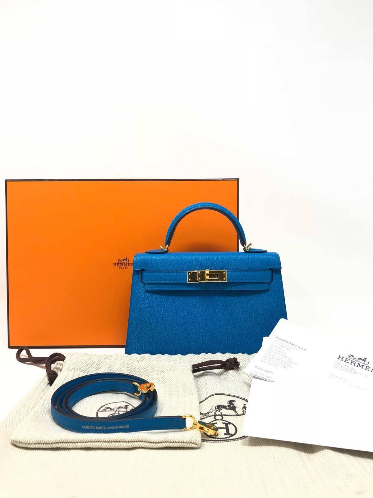 12b472f51b43 ... wholesale hermes kelly bag 20 mini kelly ii blue zanzibar chevre gold  hardware 2017 for sale