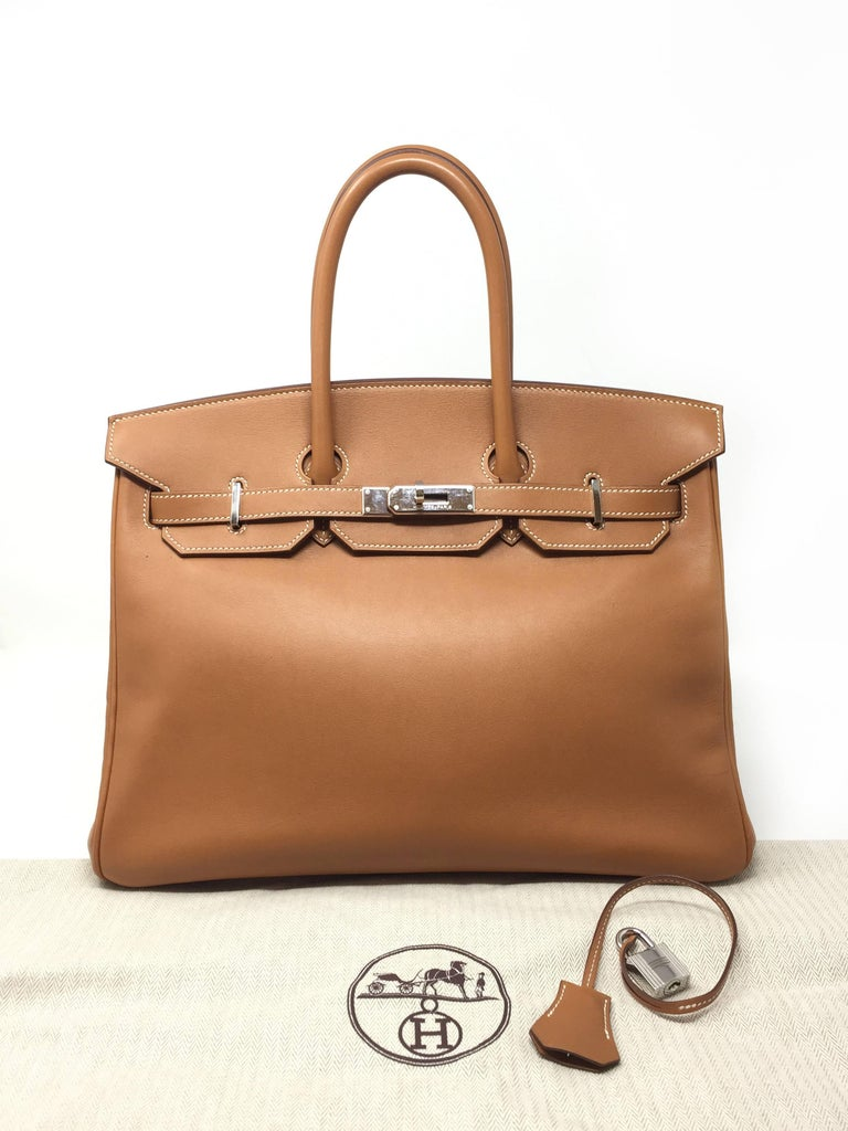 Hermes Paris Sac Birkin 35 Swift Gold Leather Bag 2008 For 5