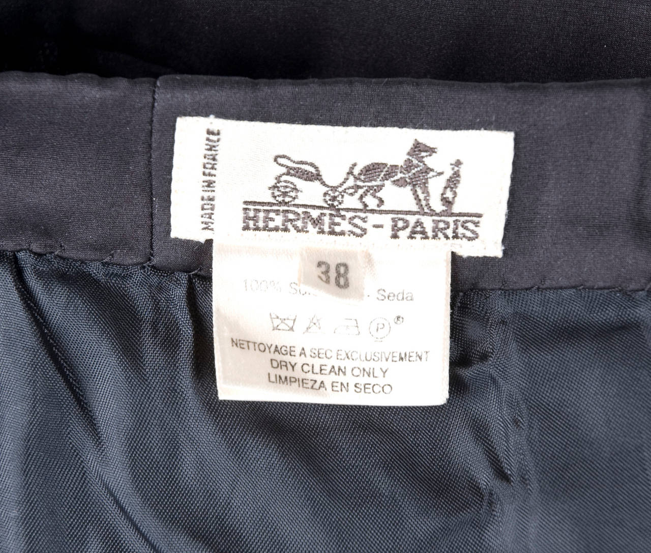 Rare Vintage HERMES Asymetrical Evening Skirt in Black Silk 9