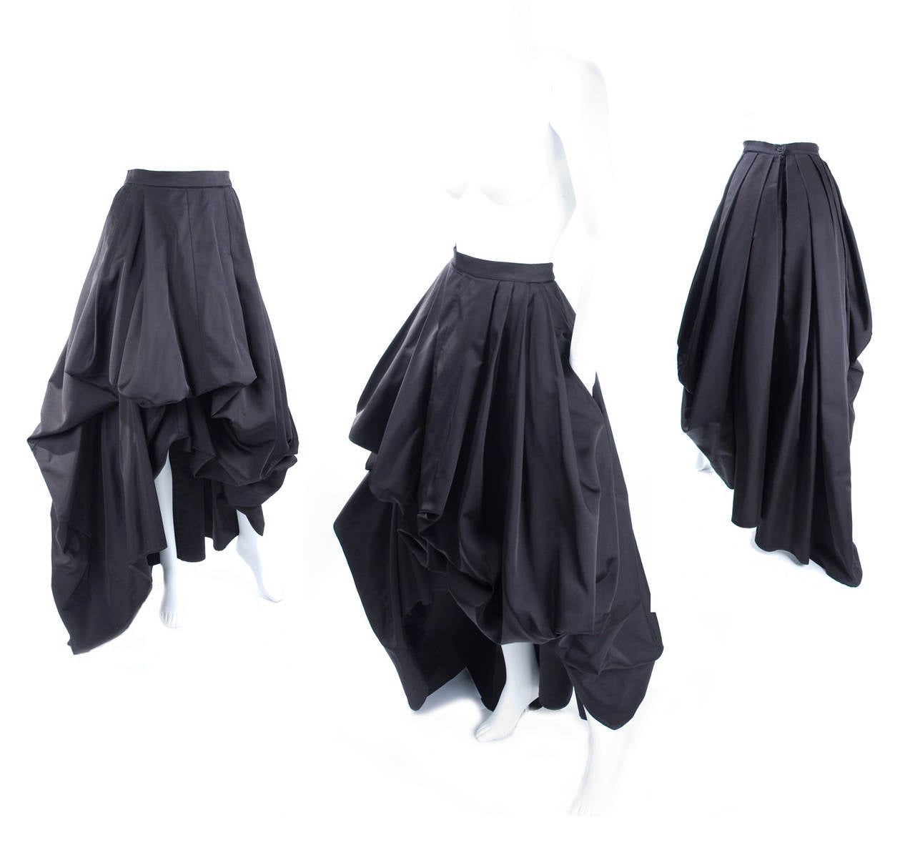 Rare Vintage HERMES Asymetrical Evening Skirt in Black Silk 2