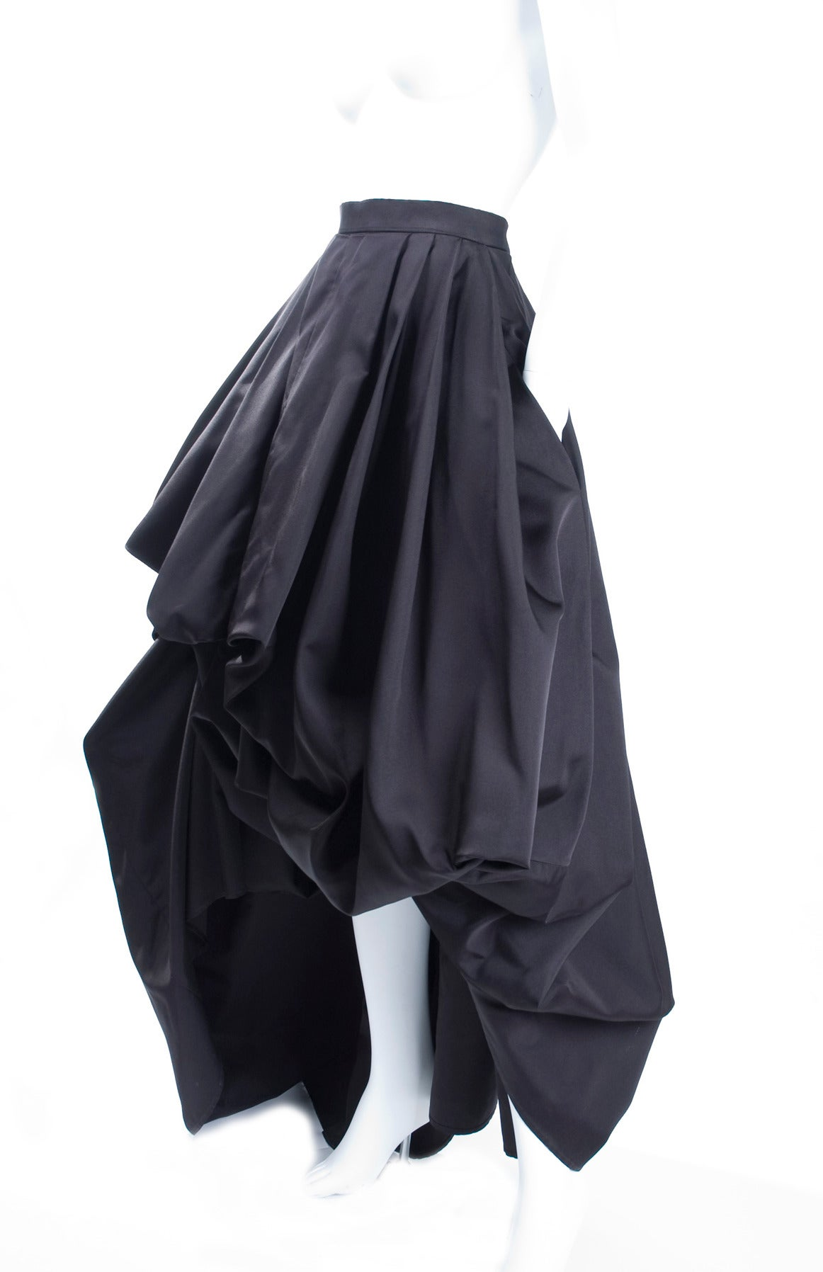 Rare Vintage HERMES Asymetrical Evening Skirt in Black Silk 3