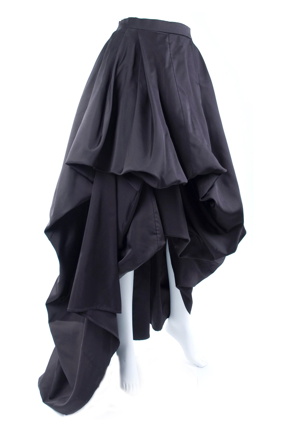Rare Vintage HERMES Asymetrical Evening Skirt in Black Silk 4